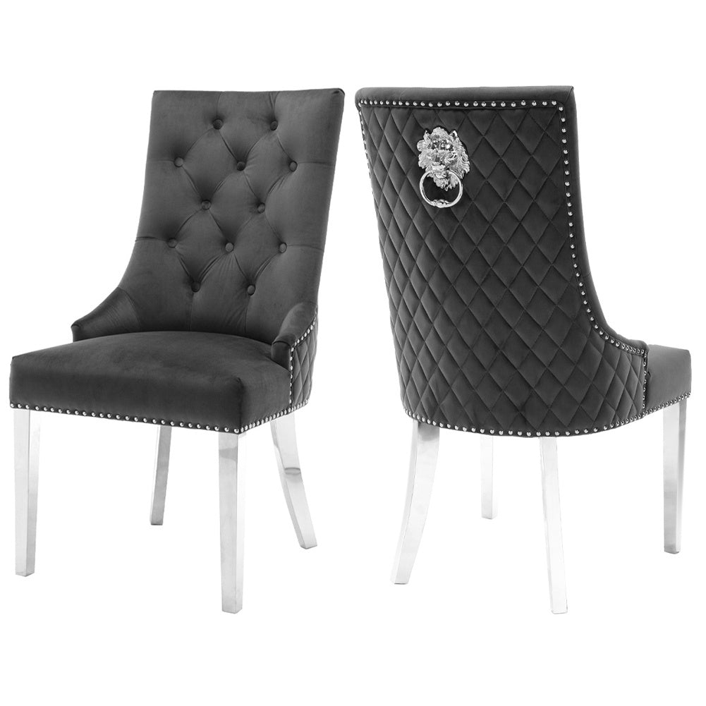 Set of 2 Dark Grey Tufted Velvet Dining Chairs