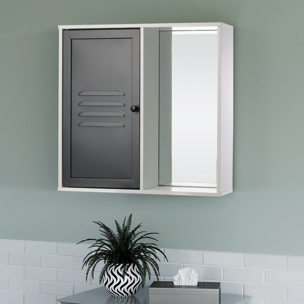 Rectangle Iron Bathroom Storage Wall Mirror Cabinet