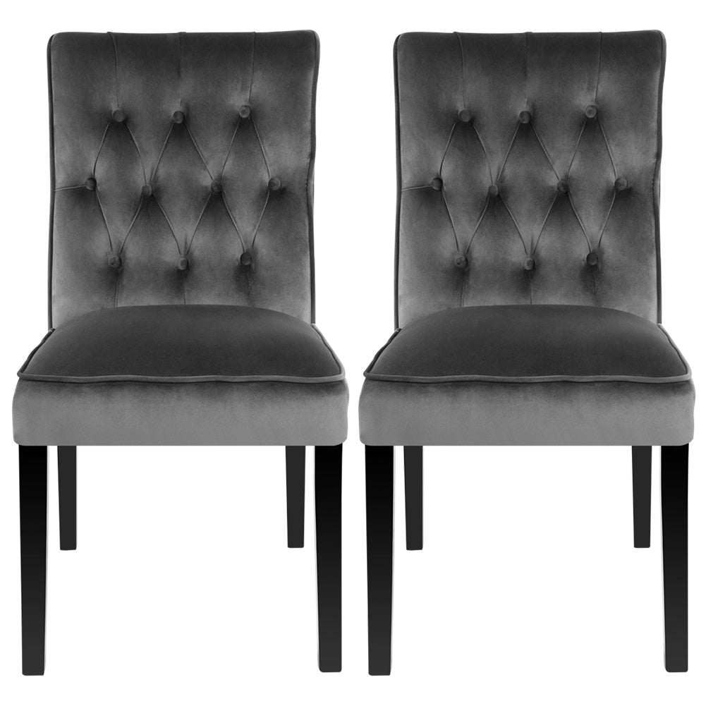 Set of 2 Buttoned Dining Chairs