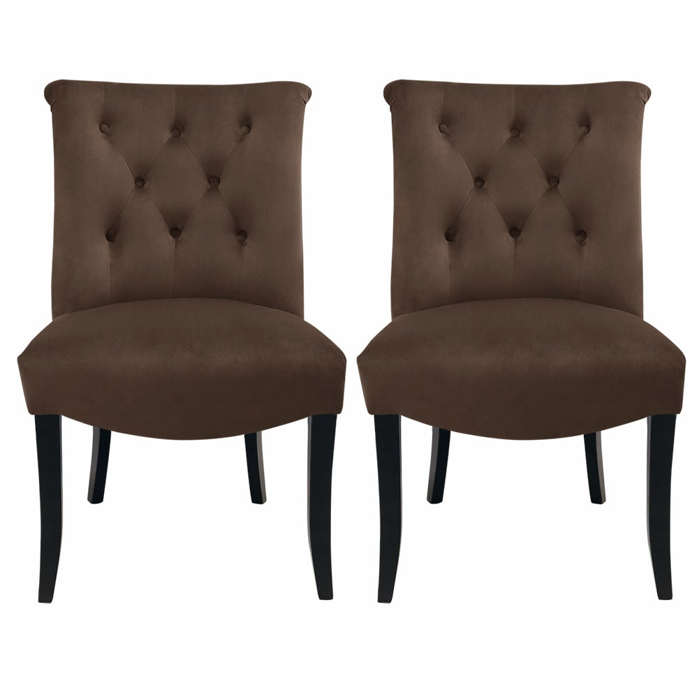 Set of 2 Chesterfield Velvet Dining Chairs