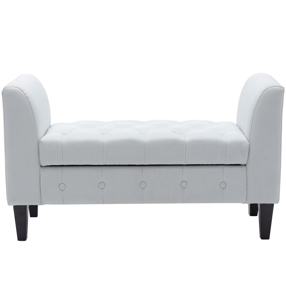 Velvet Buttoned Storage Bench Footstool