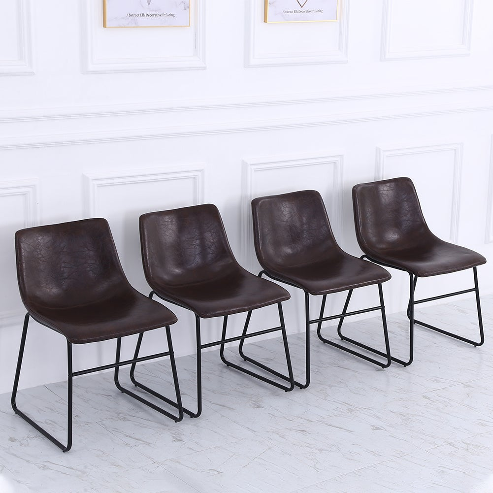 Set of 2 PU Leather Dining Chairs
