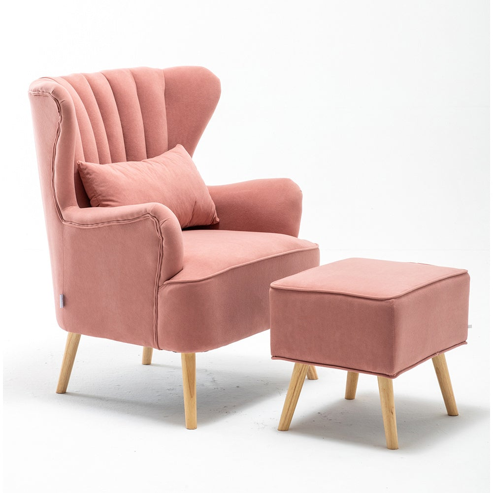 Occasion Suede Wingback Armchair and Footstool