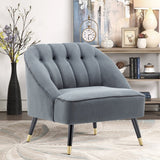 Frosted Velvet Buttoned Accent Chair