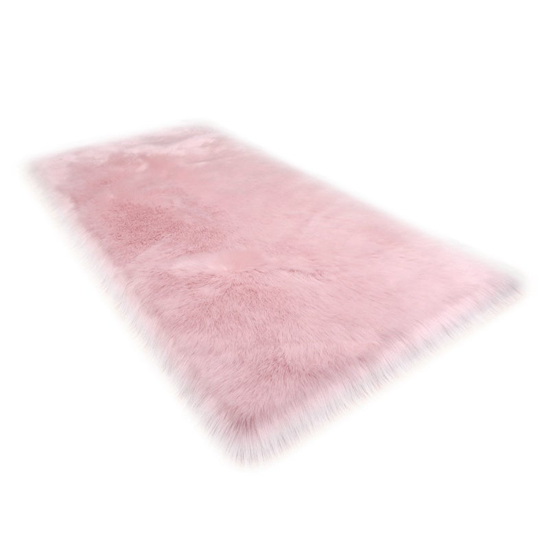 Pink Rectangle Fluffy Shaggy Sheepskin Area Rugs