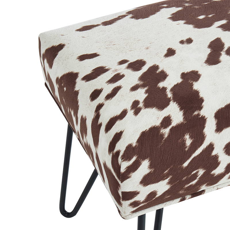 The Oliver - Vegan Cow Hide Bench - Brown