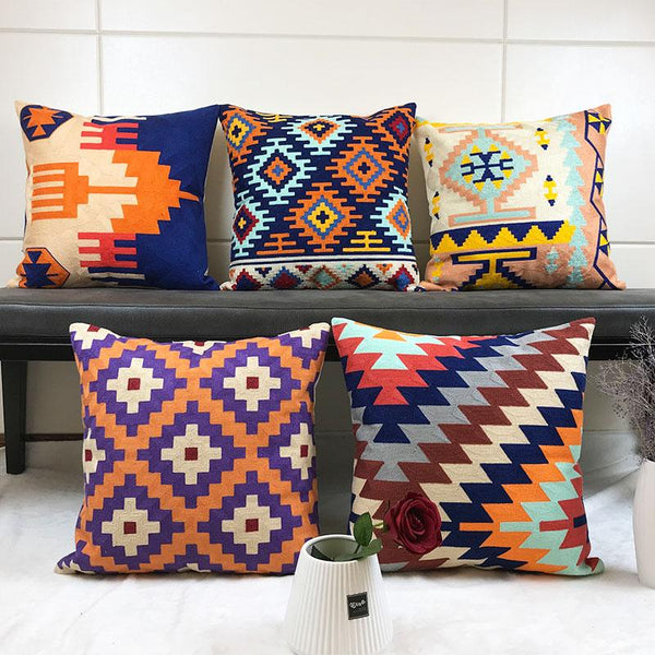 Geometric Embroidered Canvas Cushion Cover