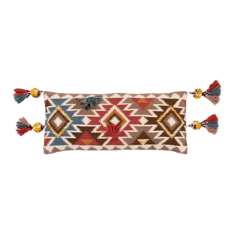 Hand Woven Aztec Pillow with Tassels