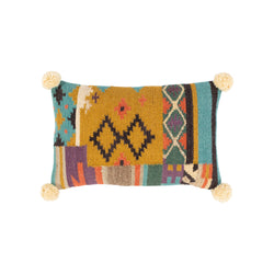 Hand Woven Aztec Pillow with Pom Poms