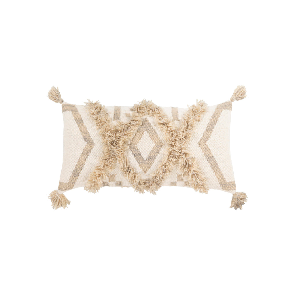 Ivory Fringe Pillow with Tassels