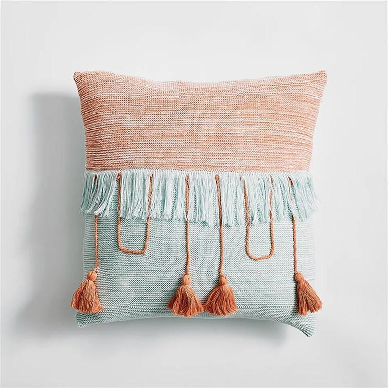 Knitted Tassle Cushion Cover