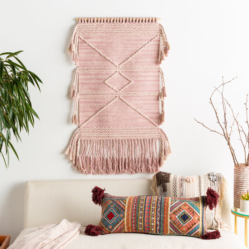 Pale Pink Macrame Wall Tapestry with Tassels
