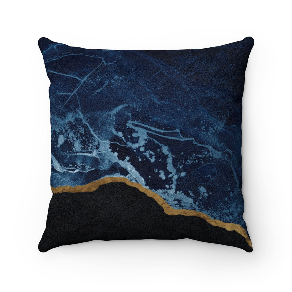 Navy Stroke - Suede Square Pillow