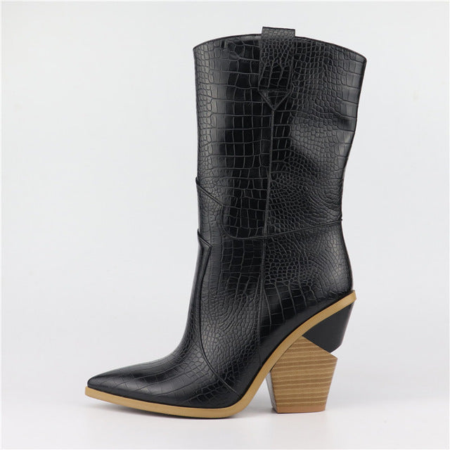 reputable site 84c5a 0a67b Buono Scarpe 2019 Brand Wedges Boots Ins Hot Style High Heel Western Boots  Women Shoes Plus Size 46 Retro Mid-calf Women Boots