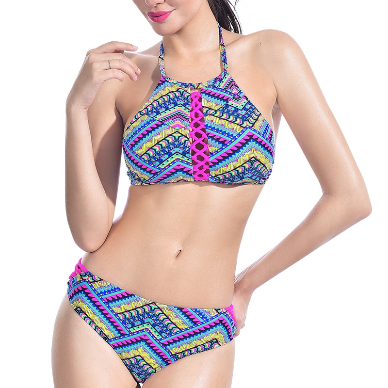 fashion style of 2019 free delivery clearance sale PERONA Crochet Ethnic Bikini Set Women Retro Crop Halter Swimsuit Knitted  Swimwear Low Waist Beachwear Two Piece Bathing Suit
