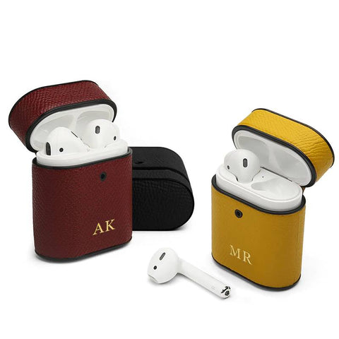 Perfectly personalized by your initials on our original Italian Leather Case Cover which fits AirPods covers!