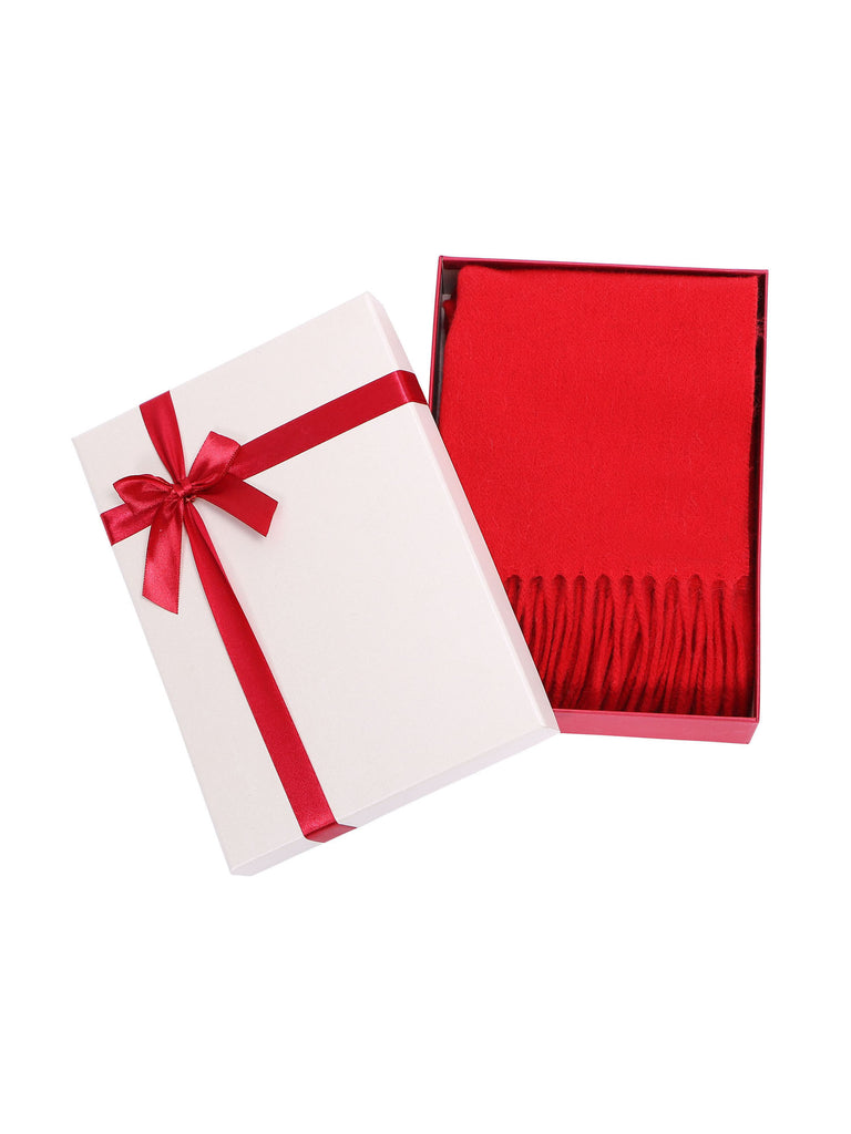 Women | Soft & Luxurious | 100% Cashmere Scarf w/ Gift Box, Red