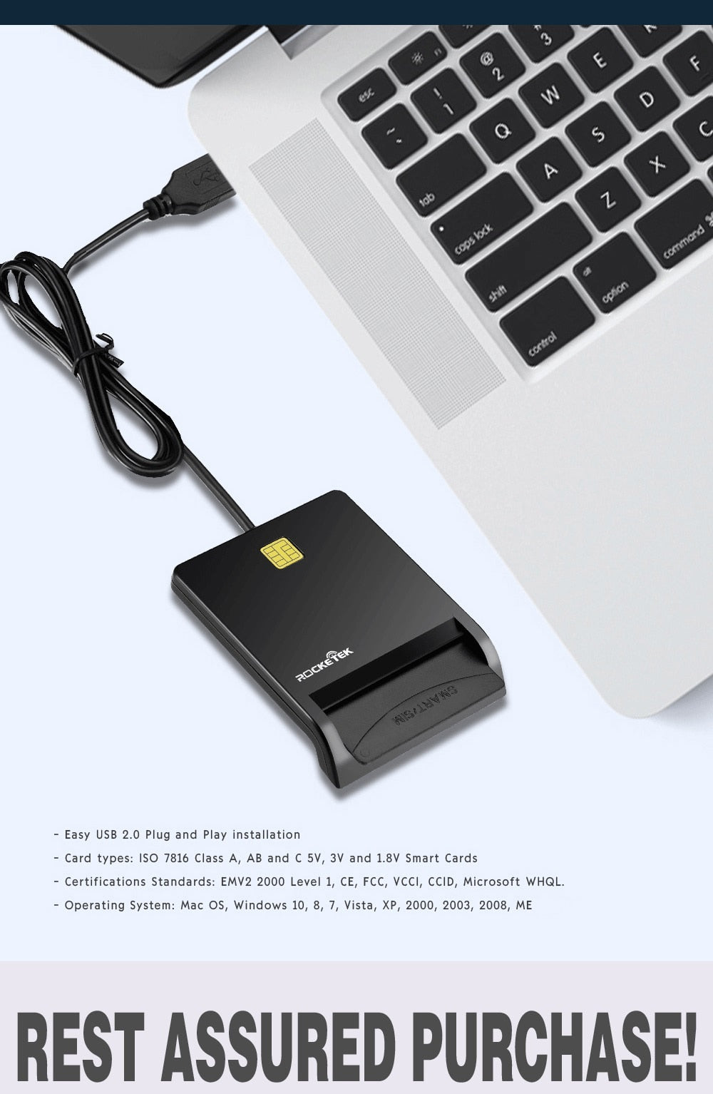 YZ Premiums | Rocketek - USB 2.0 Smart Card Reader | Connector to Computer