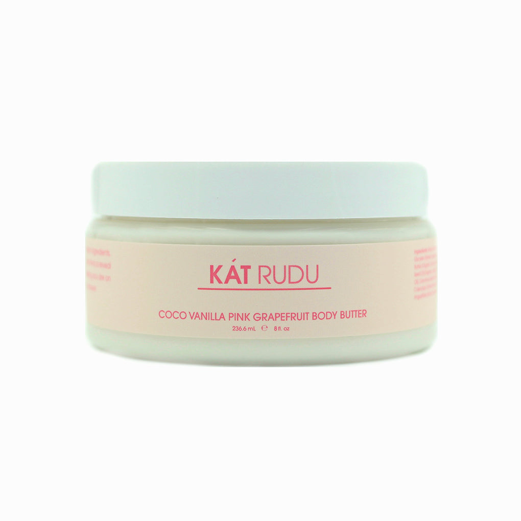 Kat Rudu Coco Vanilla Grapefruit Body Butter formulated with a nourishing blend of Coco Butter, Aloe Vera, Coconut Oil and Flax Seed Oil