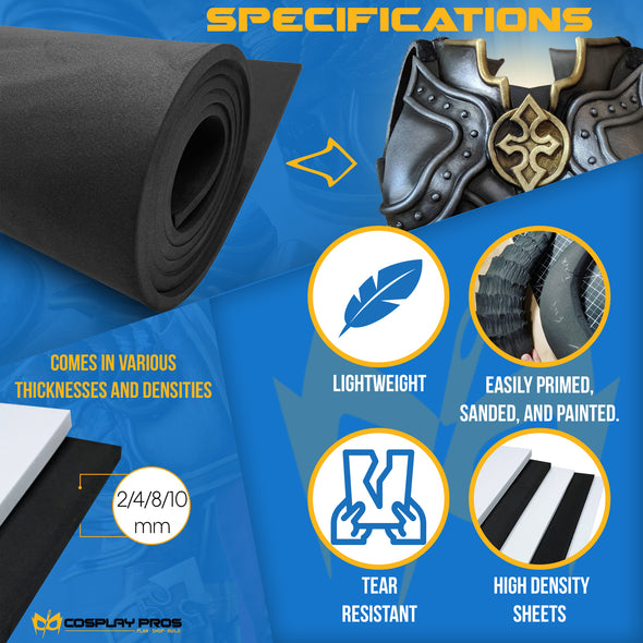 Cosplay Pros EVA foam specifications