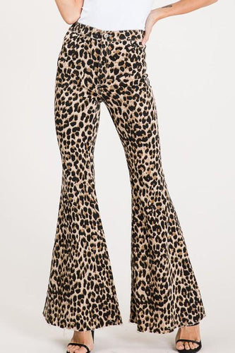 Vintage Leopard Print Bell Bottoms - Plus
