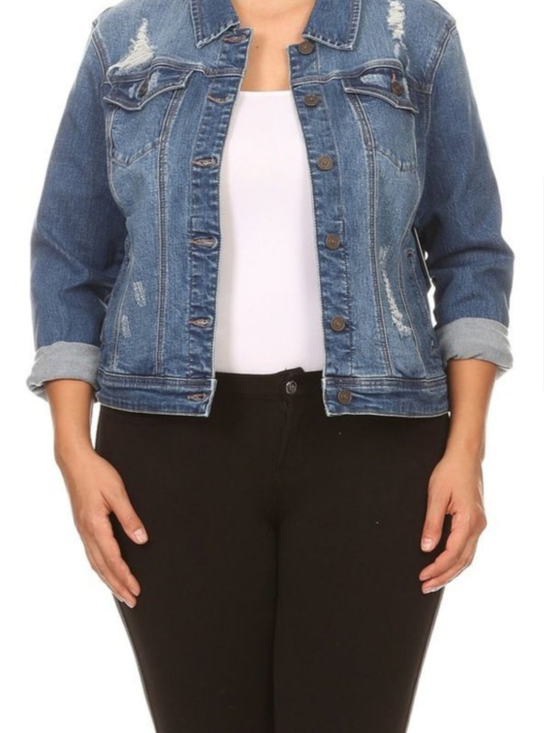 Kelsey curvy denim jacket in medium wash