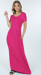 Noelle short sleeve maxi dress in fuschia