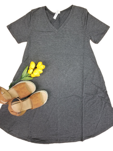 Favorite basics A-line dress in charcoal