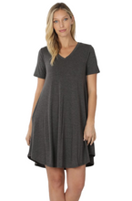 Load image into Gallery viewer, Favorite basics A-line dress in charcoal