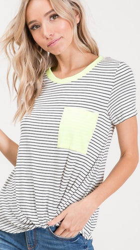 All striped up lime pocket tee