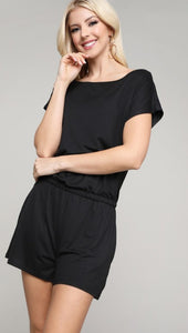 PLUS Vaca mode casual shorts romper in black