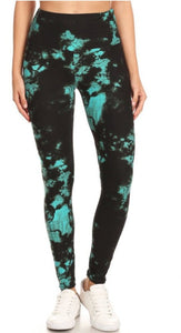 Fan favorite watercolor leggings in aqua