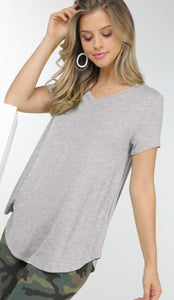V neck tee in heathered grey