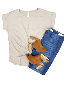 All knotted up short sleeve top in ash mocha