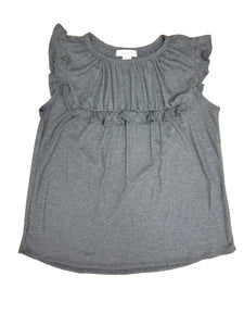 All the frills smocked top in charcoal