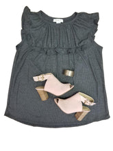 Load image into Gallery viewer, All the frills smocked top in charcoal