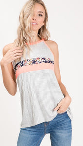 Flower child striped tank