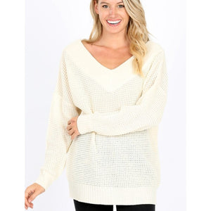 Stroll in the park waffle knit top in ivory