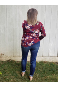 Floral charm top in burgundy