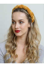 Load image into Gallery viewer, Velvet braided headband in mustard