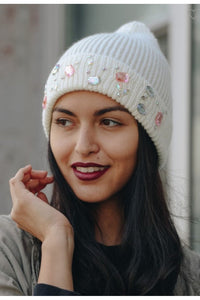 Jeweled knit beanie in ivory