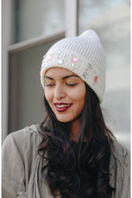Load image into Gallery viewer, Jeweled knit beanie in ivory