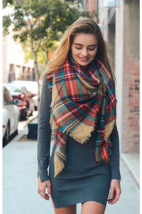 Plaid blanket scarf in khaki