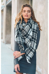 Plaid blanket scarf in black