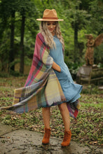 Load image into Gallery viewer, Catch me outside plaid poncho in fuschia