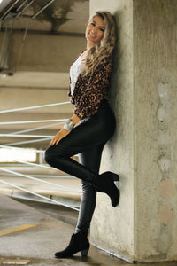 Black mamba faux leather leggings