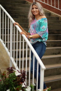Take me downtown knit tie dye top