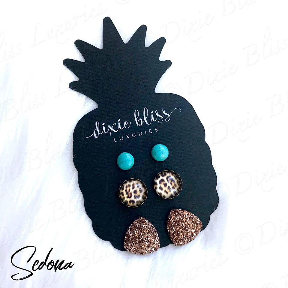 Dixie Bliss Luxuries Sedona Turquoise Druzy Leopard Earring Trio