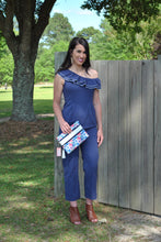 Load image into Gallery viewer, Navy Ruffle One Shoulder Jumpsuit