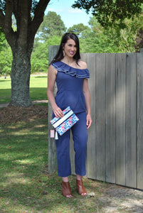 Navy Ruffle One Shoulder Jumpsuit